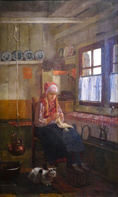 Knitting girl, Marken, Netherlands. Zuiderzeemuseum, Enkhuizen. Knitting Quotes, Knitting Humor, Art Du Fil, Knit Art, Hans Christian, Sewing Art, Art World, Female Art, Illustrations