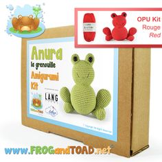 OPU la grenouille / the frog - Amigurumi Kit - FROGandTOAD Créations © #amigurumi #crochet #kit #rouge #red #pattern #patron #frog #grenouille #langyarns #frogandtoadcréations
