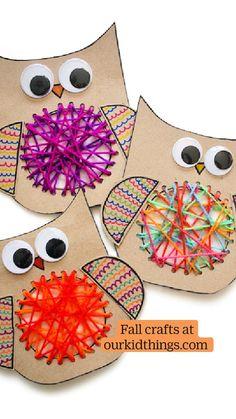 Owl Crafts, Cute Kids Crafts, Easy Fall Crafts, Leaf Crafts, Easy Arts And Crafts, Halloween Crafts For Kids, Paper Crafts For Kids, Crafts For Kids To Make, Craft Stick Crafts