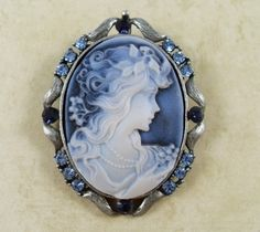 Blue and white Cameo Brooch