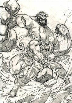 Thor vs. The Hulk Original Pencils By Joe Madureira