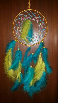 Blue yellow dreamcatcher with wooden beads