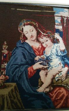 Vtg. Royal Paris Handmade Needlepoint Mignard Virgin of The Grapes Madonna&Child FOR SALE • $200.00 • See Photos! Money Back Guarantee. This hand stitched needlepoint tapestry is so nice. The colors are great. The ones I have listed, and will be listing belonged to one lady. They were all framed, but 112475943777