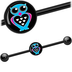 Blue Heart Owl Industrial Barbell