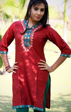 The Chraming Red Tunic (TFL308) - OnlineDesignerStore.com