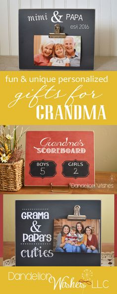 Need a unique and special gift for GRANDMA for Mother's Day? We have a variety of fun, personalized frames and signs she sure to treasure forever.