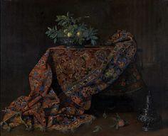 Ecole FRANCAISE vers 1670, Nature morte au tapis iranien et coupe de fruits Toile. 161 x 199 cm Provenance : Probablement collection des ducs de Choiseul au XVIIIème siècle, resté dans leur descendance jusqu'à ce jour.