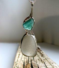"""Sea Glass Necklace, Rare Aqua and White Sea Glass Fine Silver Bezel Pendant on 18"""" Sterling Silver Chain  $130"""