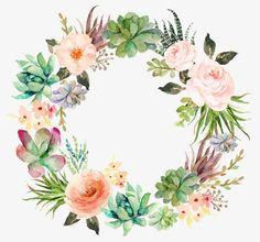 vòng hoa tươi mát trắng nõn Garland, Vòng Hoa Tươi Mát, Màu Xanh Lá Cây Hoa Hồng, Xương Rồng.Hình ảnh PNG