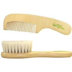 The green sprouts by iplay Brush and Comb Set features natural hair bristles, which will feel nice and gentle on your baby's scalp. www.rightstart.com $8.99