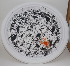 spider web plate - made by dabbing black paint and then rolling marbles around the plate (could use black construction paper and white paint) Shower Curtain Art, Marble Mugs, Preschool Christmas Crafts, Spider Crafts, Black Construction Paper, White Coffee Cups, Craft Free, Yarn Shop, Dabbing