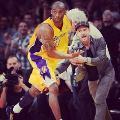 Kobe high fiving Justin Timberlake after the 3 pointer that put the game away...