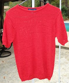 $16.99 Women's Preston & York Red Crewneck Short Sleeve Sweater Size: Medium