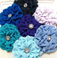 Bridesmaid Head Piece. Wedding hair clip and pin combo. Chiffon Fabric Flower. CHOOSE YOUR COLOR. Royal Blue, Navy, Olympian Blue...