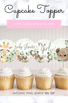 "Print the Cupcake Topper right from your computer at home or to your favorite local print shops.You will receive:∙ Each Cupcake Toppers are 2.5""∙ PDF file∙ High Resolution (300 DPI) #BabyShower #JungleSafari #SafariAnimals #CupcakeTopper Baby Shower Signs, Baby Shower Favors, Baby Shower Games, Baby Shower Parties, Baby Shower Decorations, Baby Showers, Baby Shower Cupcake Toppers, Safari Animals, Baby Shower Printables"
