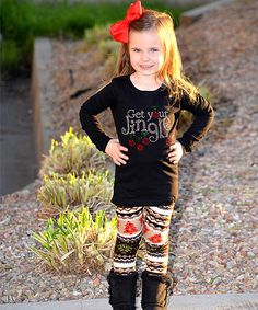 Look at this Beary Basics Black 'Get Your Jingle on' Top & Leggings - Toddler & Girls on #zulily today!