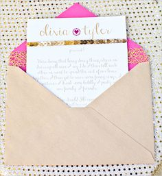 gold and pink wedding invite