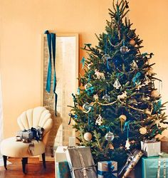 teal, gold and silver tree, this looks almost exactly like my tree!