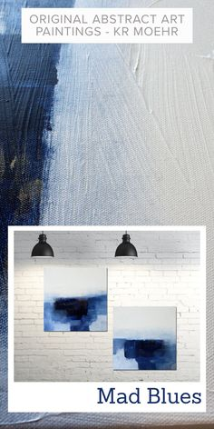 BLUE WHITE DIPTYCH ABSTRACT ART PAINTING SET | MAD BLUESA modern abstract diptcy (2 canvas set) of original paintings created with acrylics, ink on stretched canvas. Sides finished in white. Ready to hang or frame (unframed).Signed on the back + COA. Original Art, Original Paintings, Abstract Art For Sale, Modern Art Paintings, Texture Art, Hanging Art, Stretched Canvas, Apartment Living, Landscape Art