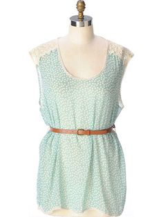 Chiffon polka dot & lace. Plus size top. Includes belt! Need it...