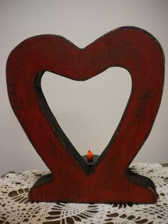 Rustic Wood Heart CutOut Tea Light Lamp by PearcesCraftShop, $8.00