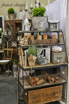 I'm thinking I need some shelves like this for my booth!  Faded Charm: ~The Farm Chicks Adventure~