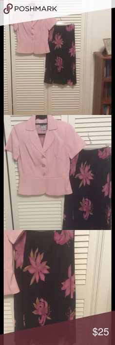 Ladies jacket and skirt Really cute pink jacket , 55% rayon,45% poly. Light pink. Skirt is rayon, fully lined , black with pink flowers, elastic waist. Both are petite small. Other