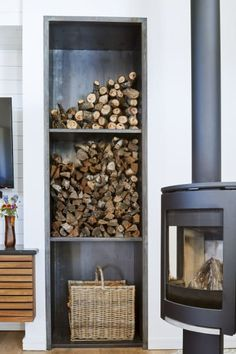 Modern Ranch Farmhouse In Austin Texas Home Tour fireplace + indoor wood storage Decor, Wood Storage, Firewood Storage Indoor, Indoor Fireplace, Wood, Wood Burning Stove, Wood Storage Box, Rustic Living Room, Modern Ranch