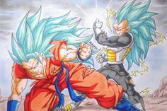 Como dibujar a Goku VS Vegeta SSj god SSj Fase 3. How to draw Goku vs Ve...