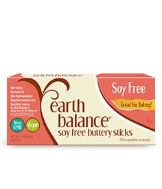 Earth Balance butter sticks for baking     Soy-Free     Vegan     Lactose-Free     Gluten-Free     Expeller-Pressed Oils      0g Trans Fat     Casein-Free     Non-GMO