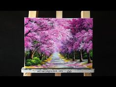 Beautiful Cherry Blossoms Road Acrylic Painting (canvas size: 12 x Tree Painting Easy, Q Tip Painting, Acrylic Painting For Beginners, Simple Acrylic Paintings, Acrylic Painting Techniques, Acrylic Art, Acrylic Painting Canvas, Painting & Drawing, Painting Lessons