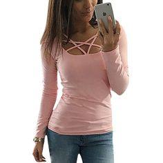 Spring Autumn Women T shirt Long Sleeve Hollow Out Spaghetti Strap Slim Fit Solid Crop Top Tee Shirt Femme Blusas Tunic LJ4515U  #CUTE #womenfashion