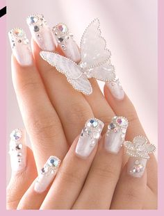 ♥PP♥ 182 WHITE ON WHITE WITH JEWEL TIPS & WHITE 3D BUTTERFLY
