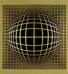 VICTOR VASARELY ABSTRACT COMPOSITION LITHOGRAPH GOLD METALLIC