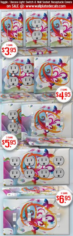 DIY Do It Yourself Home Decor - Easy to apply wall plate wraps | One Day of Life  Rainbow butterfly and flowers  wallplate skin stickers for single, double, triple and quadruple Toggle and Decora Light Switches, Wall Socket Duplex Receptacles, and blank decals without inside cuts for special outlets | On SALE now only $3.95 - $6.95