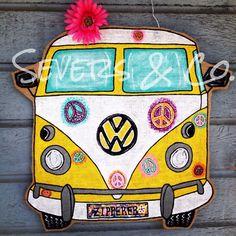 Custom VW Bus with peace signs burlap door hanger by Severs and Co… Burlap Art, Painting Burlap, Burlap Signs, Burlap Crafts, Rustic Wood Signs, Wooden Signs, Wood Crafts, Painted Doors, Painted Signs