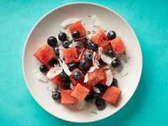 Watermelon-Blueberry-Coconut Salad: Top 1 cup cut-up watermelon chunks and a handful of blueberries with 1/4 cup unsweetened shredded coconut and 1 tablespoon chia seeds. Finish with a squeeze of lime.