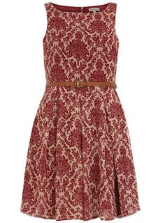 Burgundy print 50s flare dress....Can I have this please?!