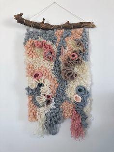 Crochet Wall Hangings, Weaving Wall Hanging, Weaving Art, Loom Weaving, Tapestry Weaving, Hand Weaving, Freeform Crochet, Hand Crochet, Crochet Granny