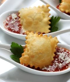 buy ravioli in a bag and then bake them in the oven! Crispy ravioli and marinara sauce... Great for appetizers
