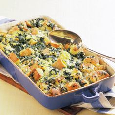 Spinach and Jack Cheese Bread Pudding [add a pound of spicy ground sausage for a perfect brinner]
