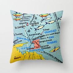 Living Room: Decor: Map Couch Cushions via #Etsy. This one is a naturally a #cushion featuring a map of #TrinidadandTobago. All Map-themed Everything.