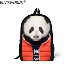 de2e5c5a61 ELVISWORDS Cute Panda Printing School Bags for Teenagers Boys Student Kids  Animals Bookbag Comfortable Casual Fashion