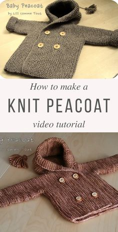 Knit Baby Peacoat Free Pattern Tutorial Source by Jacket Baby Knitting Patterns, Baby Girl Patterns, Baby Cardigan Knitting Pattern, Baby Hats Knitting, Knitting For Kids, Easy Knitting, Beanie Pattern, Hat Patterns, Knitted Baby Cardigan