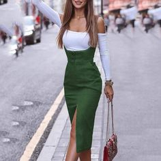 Fashion Pure Colour Slit Long Strap Casual Dresses - How To Be Trendy Girly Outfits, Mode Outfits, Chic Outfits, Dress Outfits, Casual Dresses, Fashion Dresses, Dress Shoes, Shoes Heels, Ladies Dress Design