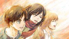 Anime Attack On Titan: Eren Yeager & Mikasa Ackerman & Armin Arlert as kids Armin, Eren X Mikasa, Attack On Titan Season, Attack On Titan Eren, Fanarts Anime, Manga Anime, Anime Art, Tsubaki Chou Lonely Planet, Another Anime