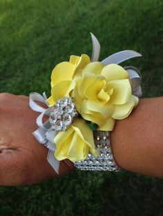 The Yellow & Mercury wedding. Shown here is the mother's wrist corsage. The Yellow & Mercu Homecoming Flowers, Homecoming Corsage, Prom Flowers, Diy Wedding Flowers, Flowers In Hair, Wedding Ideas, Bridesmaid Corsage, Prom Ideas, Diy Flowers