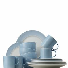 Better plate and cup size - Rosenthal Sunny Day 16-Piece Dinnerware Set in Pastel Blue - BedBathandBeyond.com