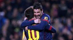 David Villa and Lionel Messi- Barca