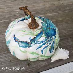 Pumpkin blue crab decor blue crab by KateMcRostieHandmade